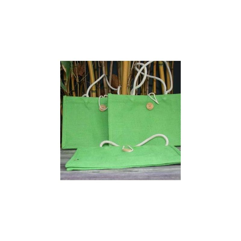 Bio92-petit sac en toile de jute vert