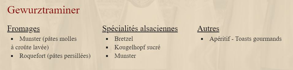 Charles Baur - accords Gewurztraminer