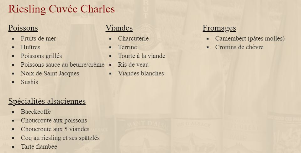 Charles Baur - accords mets Riesling bio